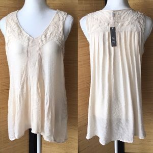 Spense Beige Embroidered Tank